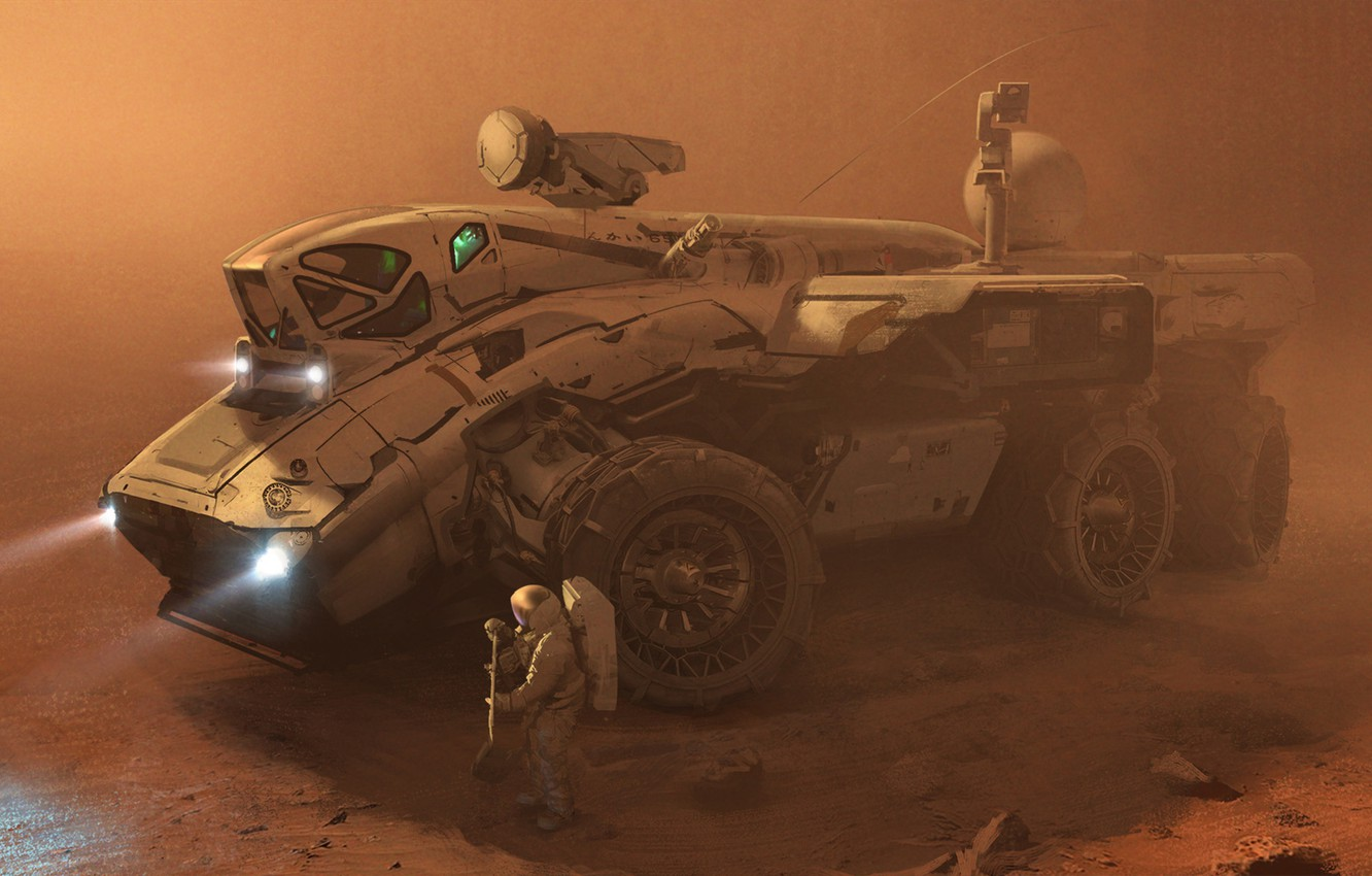 Photo wallpaper sand, fiction, storm, Mars, astronauts, the astronauts, Rover, the Rover, expedition