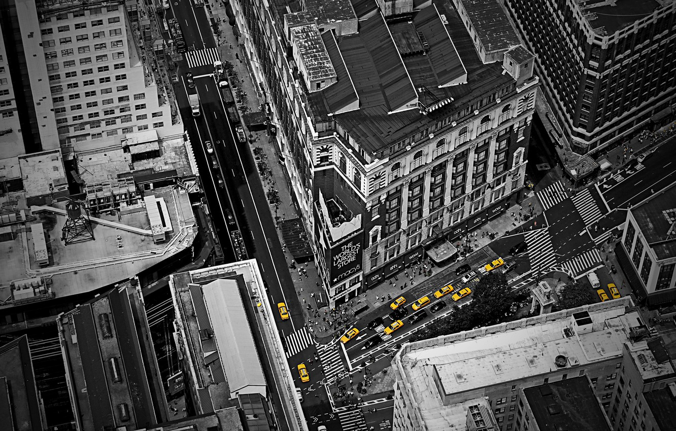 Photo wallpaper auto, landscape, machine, the city, style, yellow, creative, people, street, view, Windows, road, home, traffic, …