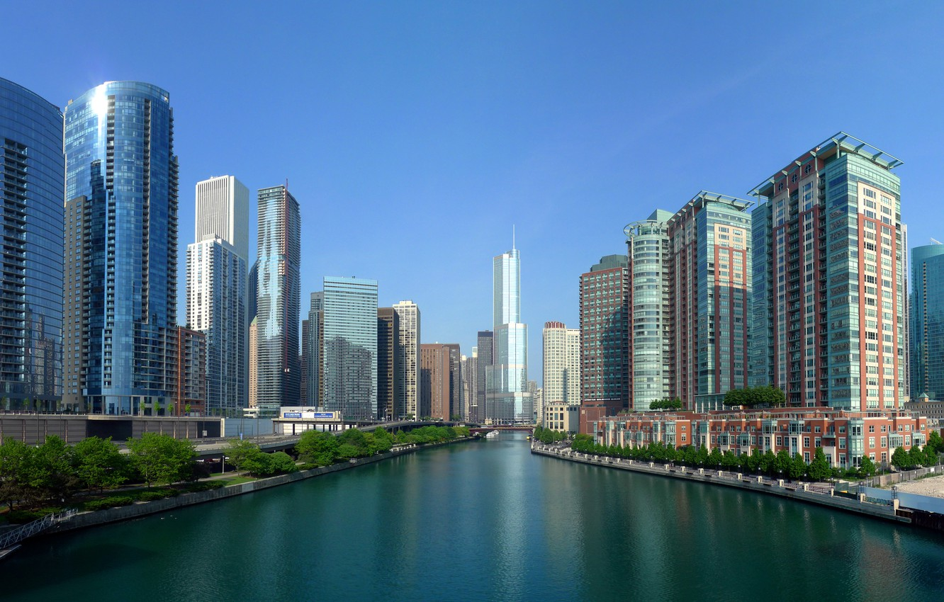 Photo wallpaper The sky, Water, Home, Photo, The city, River, Panorama, View, Chicago, Skyscrapers, Building, USA, USA, …