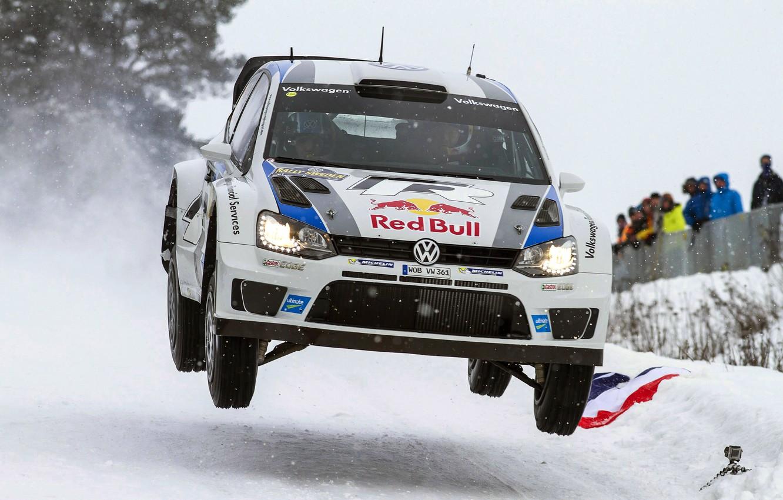 Photo wallpaper Winter, White, Snow, Sport, Volkswagen, Machine, People, Lights, Red Bull, WRC, Rally, Rally, Polo, Sebastien …