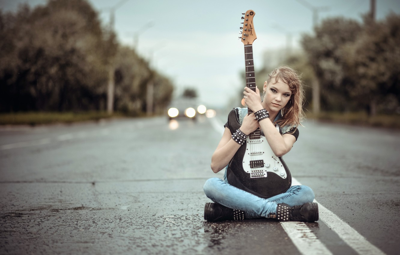 Photo wallpaper road, girl, music, guitar