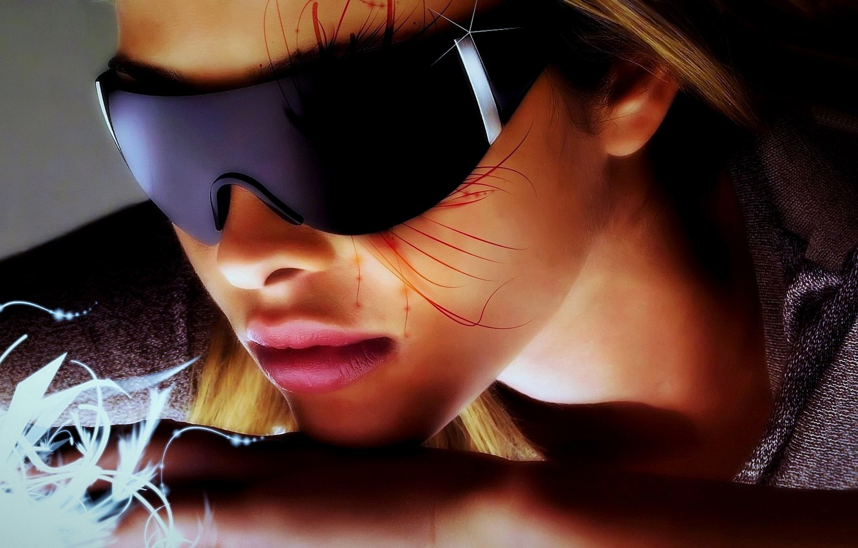 Photo wallpaper color, girl, light, face, style, creative, background, fantasy, widescreen, bright, hair, figure, shadow, nose, art, …