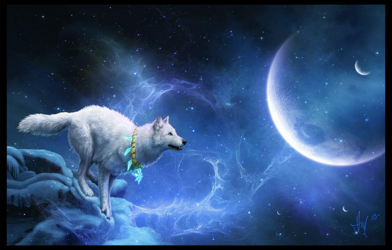 Photo wallpaper white, planet, wolf, stars, mystic
