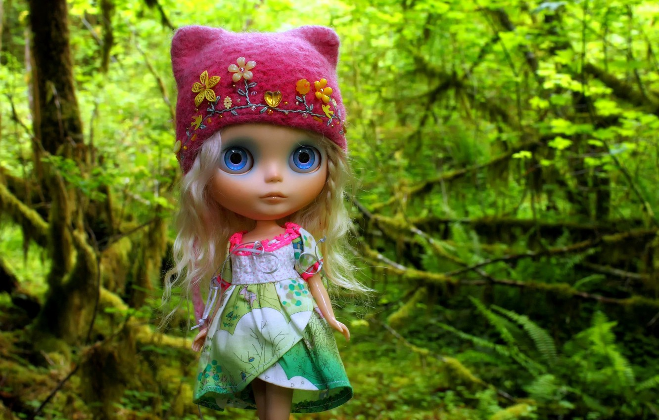 Photo wallpaper forest, hat, hair, toy, doll, cap