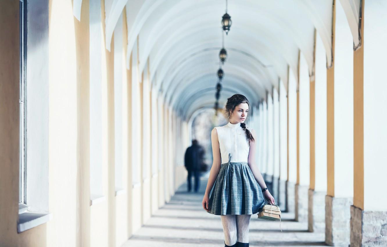Photo wallpaper girl, books, skirt, blouse, pigtail