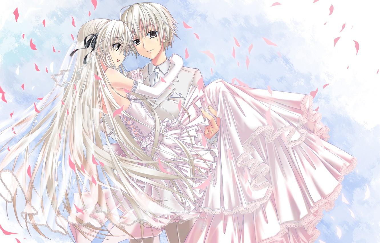 Wallpaper girl, dress, Anime, guy, the bride, veil, long hair