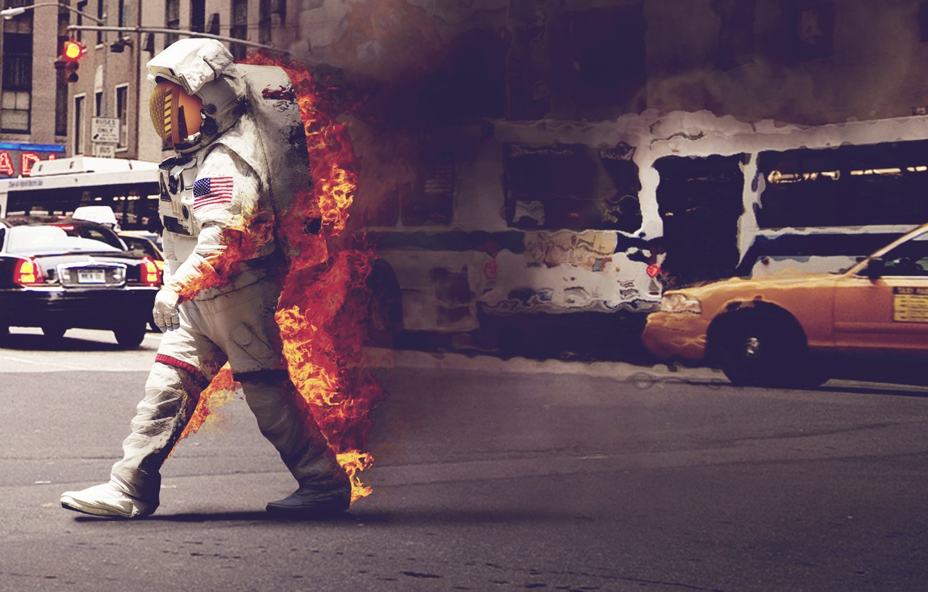 Photo wallpaper machine, the city, fire, street, smoke, the suit, taxi, astronaut
