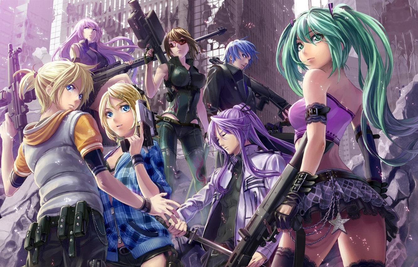 Photo wallpaper the city, weapons, sword, machine, vocaloid, hatsune miku, megurine luka, kagamine rin, kagamine len, kaito