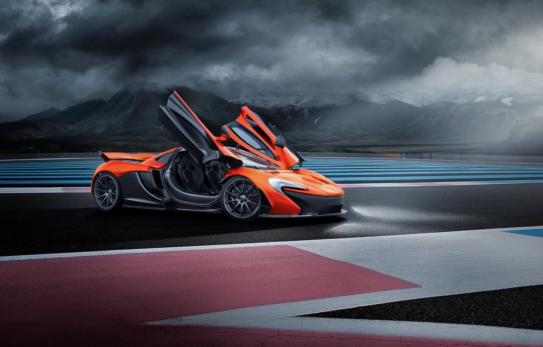 Photo wallpaper McLaren, Orange, Race, Front, Supercar, Track, Doors, Ligth, Nigth