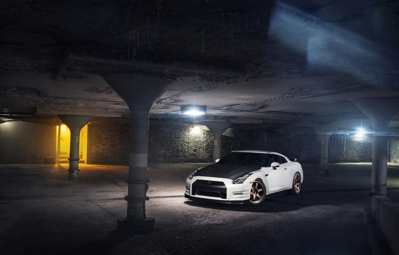 Photo wallpaper Nissan, GT-R, Car, Front, White, R35, Sport, Evo G