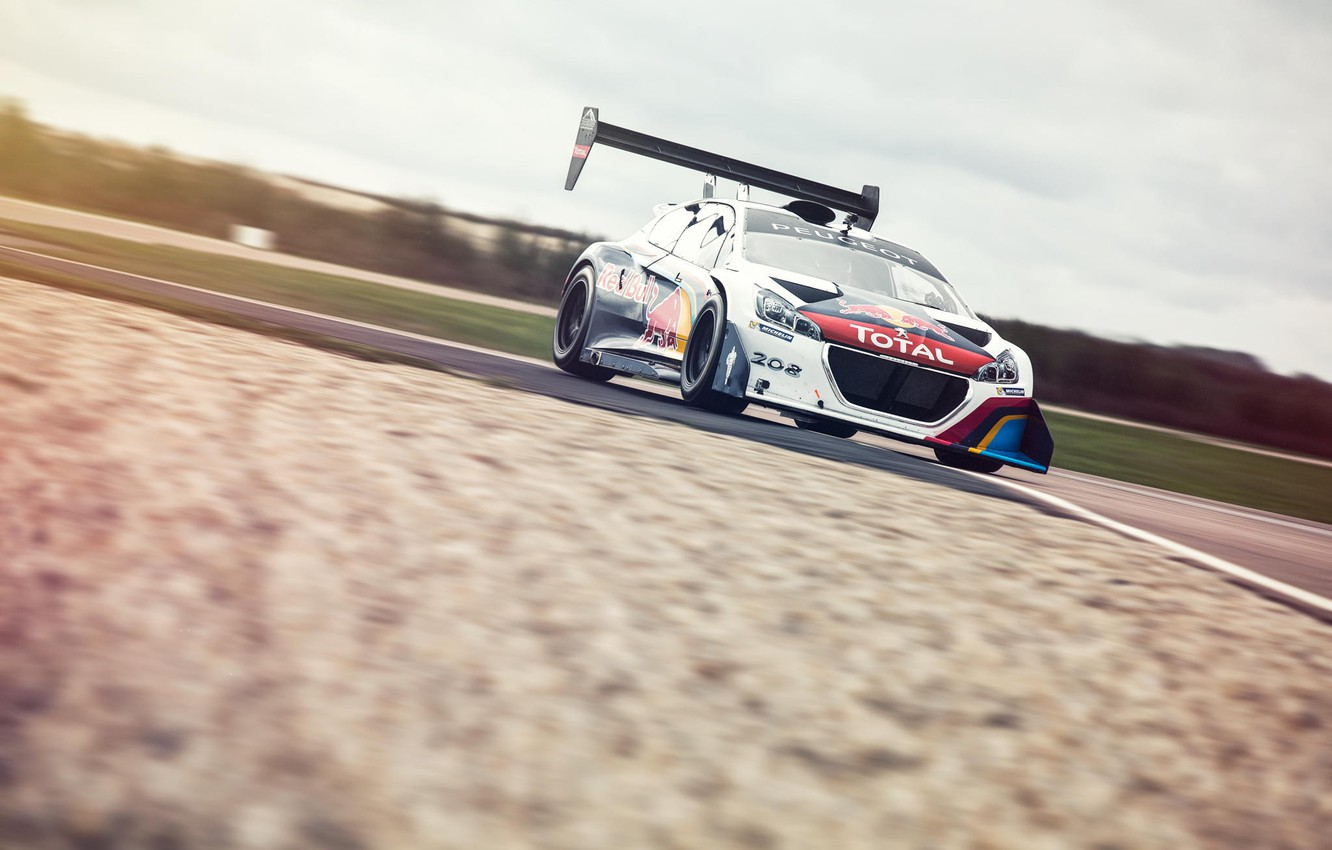 Photo wallpaper Top Gear, Peugeot, track, Red Bull, front, Total, Sport 208 T16 Pikes Peak