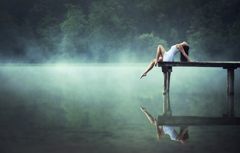 Photo wallpaper girl, lake, reflection, morning