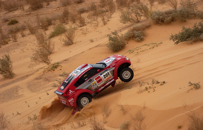Photo wallpaper Sand, Red, Auto, Sport, Machine, Race, Mitsubishi, Rally, Dakar, SUV, Rally