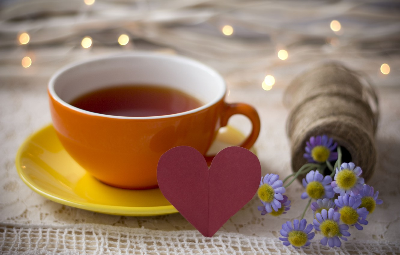 Photo wallpaper light, love, flowers, lights, table, holiday, tea, heart, bouquet, Cup, love, drink, heart, flowers, cup, …