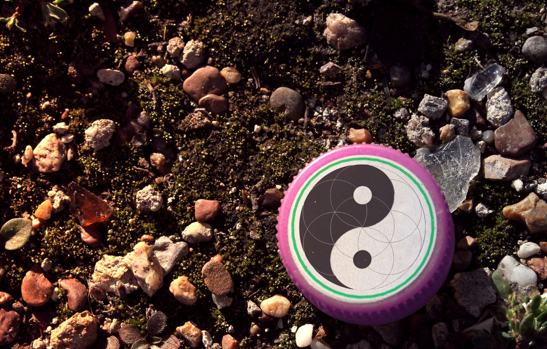 Photo wallpaper glass, stones, earth, cover, Yin-Yang