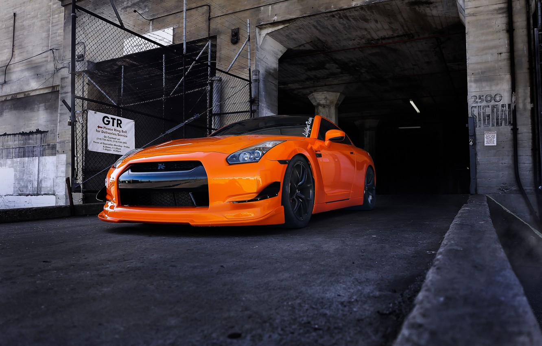 Photo wallpaper orange, tuning, nissan, front view, Nissan, gt-r, orange, r35