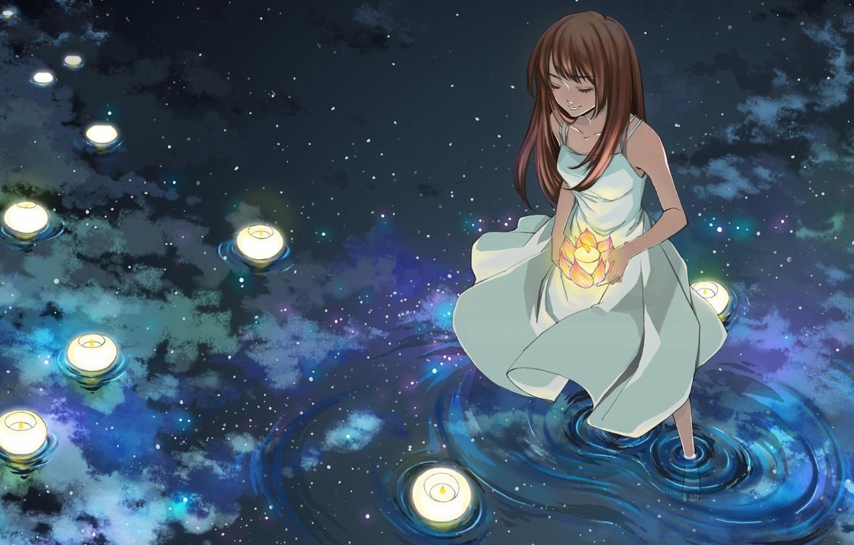 Photo wallpaper water, girl, candles, anime, art
