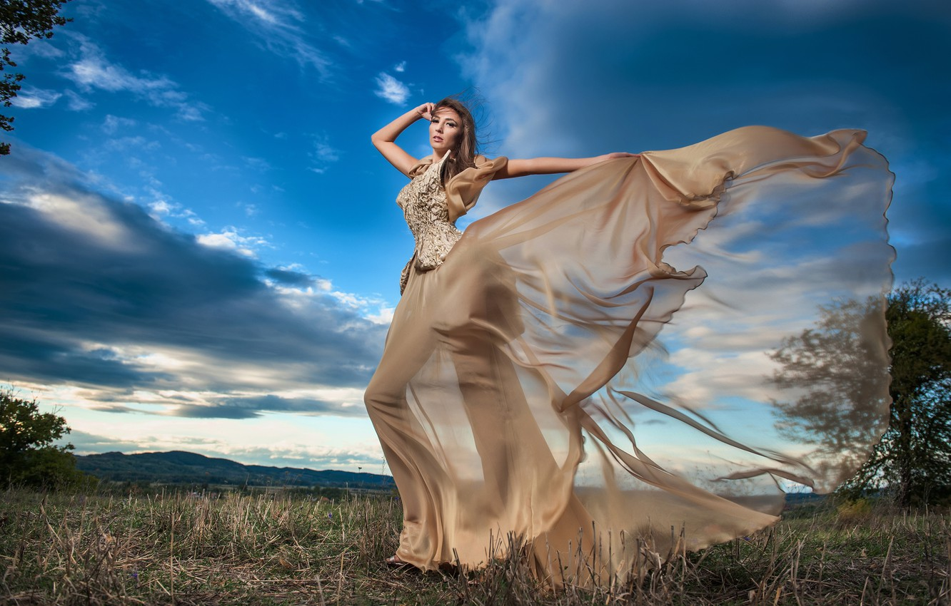 Photo wallpaper field, girl, trees, nature, pose, model, makeup, figure, dress, hairstyle