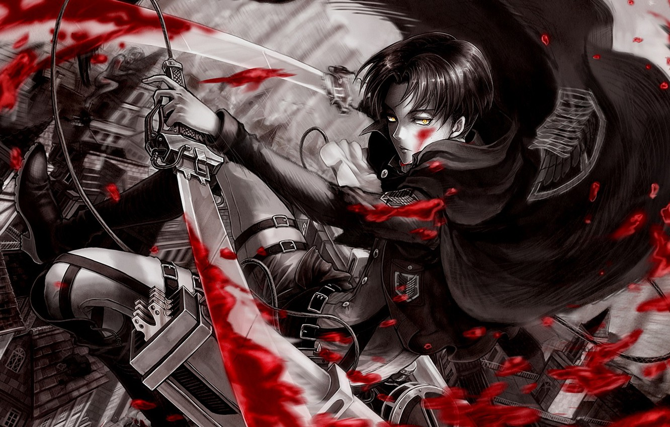 Photo wallpaper blood, attack of the titans, Shingeki no Kyojin, the invasion of the titans, corporal Levi