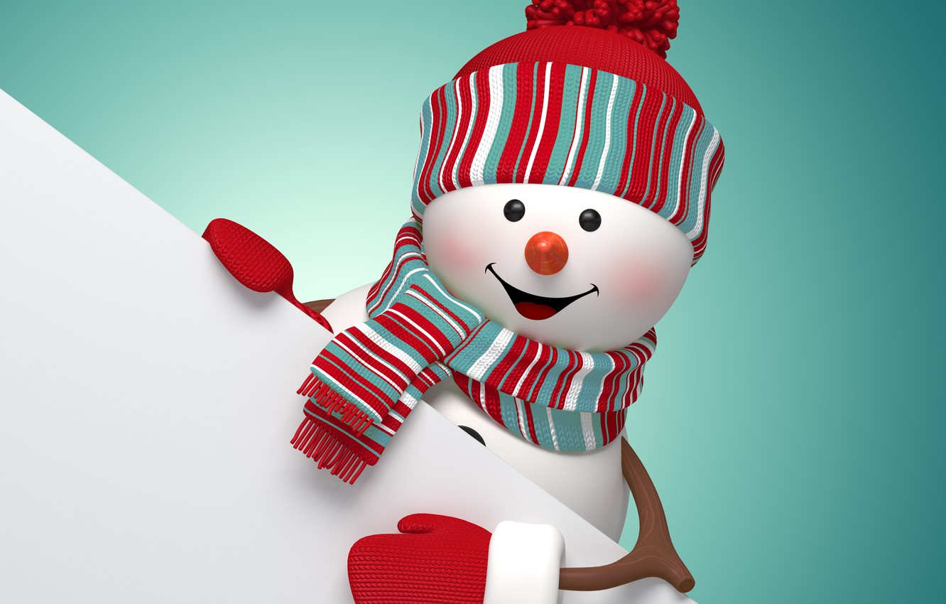 Photo wallpaper New Year, Christmas, snowman, Christmas, New Year, cute, snowman, Merry