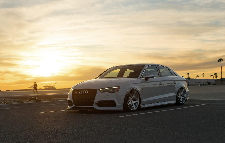 Photo wallpaper sunset, Audi, car, Audi S3