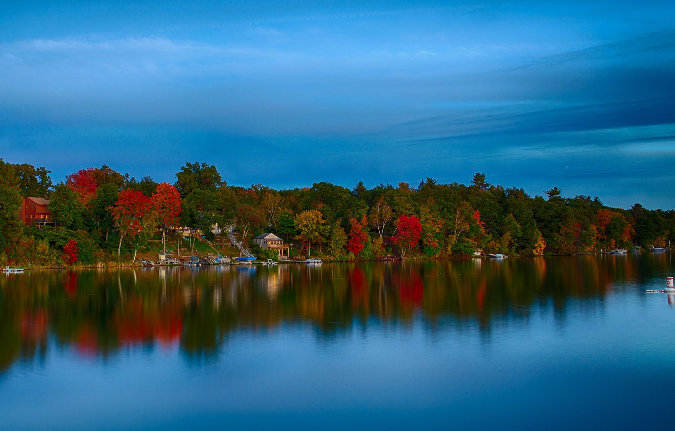 Photo wallpaper autumn, forest, the sky, trees, lake, house
