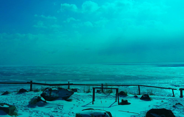 Photo wallpaper ice, winter, the sun, nature, Baikal