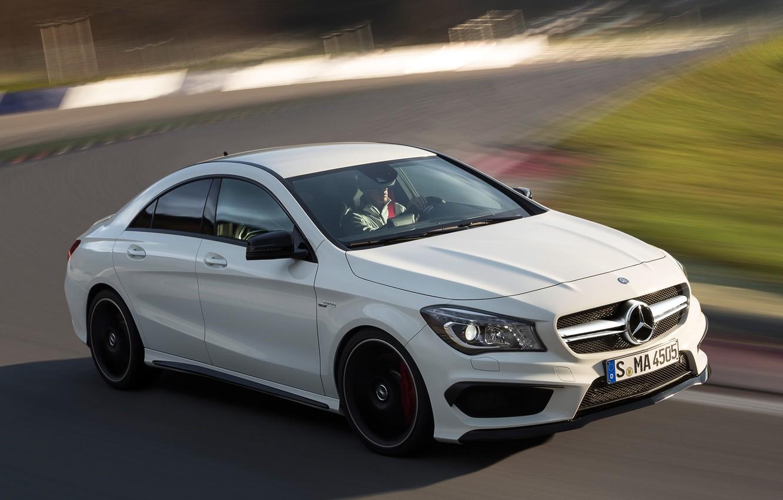 Photo wallpaper car, Mercedes-Benz, white, AMG, CLA