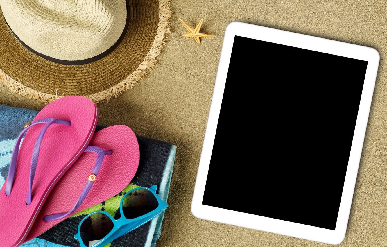 Photo wallpaper beach, summer, stay, hat, glasses, summer, tablet, beach, vacation, sun, sand, slates, vacation, accessories