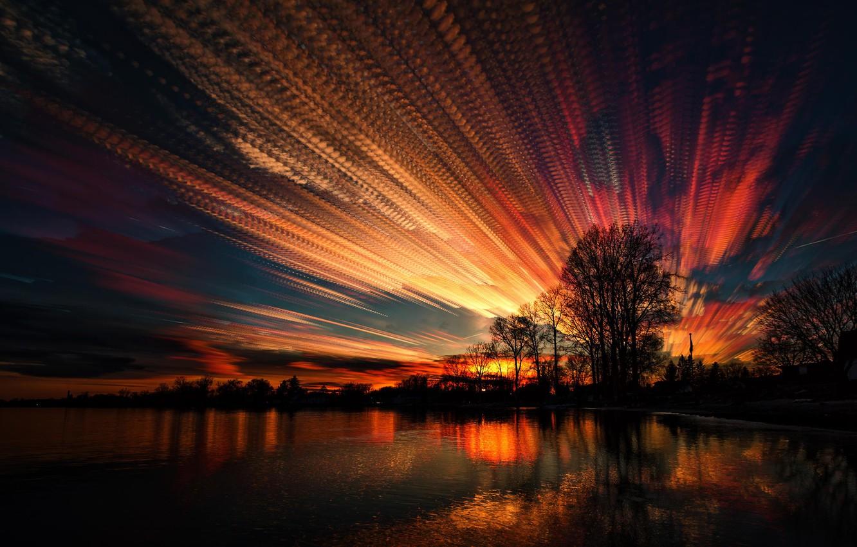Photo wallpaper the sky, trees, sunset, lake