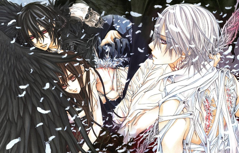Photo wallpaper wings, feathers, skull, Vampire Knight, Zero Kiryu, Yuki Cross, Kaname Kuran