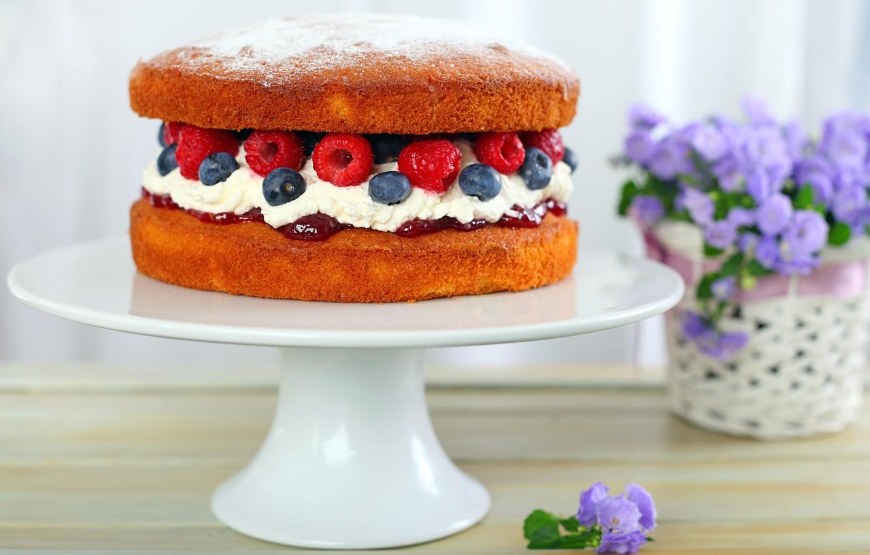 Photo wallpaper flowers, raspberry, food, blueberries, cake, cake, cake, cream, dessert, food, flowers, sweet, cream, dessert, blueberries, …
