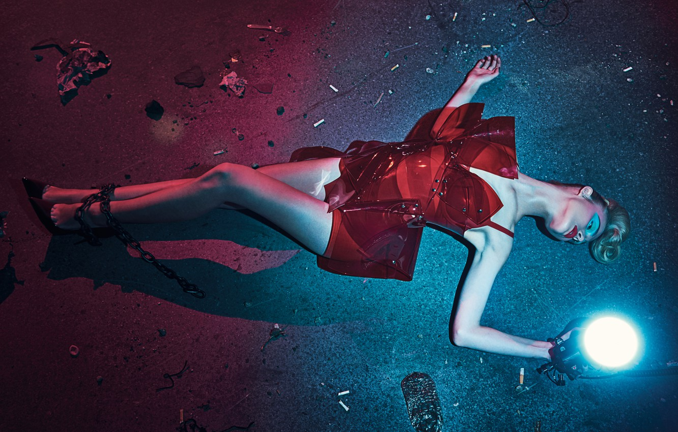 Photo wallpaper light, pose, model, makeup, figure, actress, hairstyle, shoes, lantern, outfit, lies, legs, chain, on the …