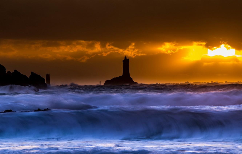 Photo wallpaper sea, night, wave, lighthouse