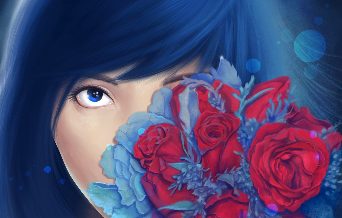 Photo wallpaper look, flowers, face, roses, bouquet, art, painting, girl. blue hair