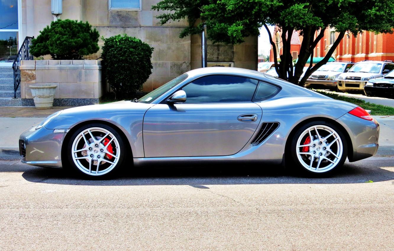 Photo wallpaper street, tuning, silver, Parking, sports car, car, drives, Porsche Cayman