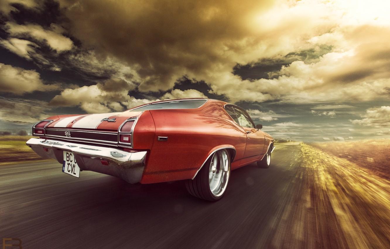Photo wallpaper Chevrolet, 1969, Orange, Speed, Chevelle, Rear