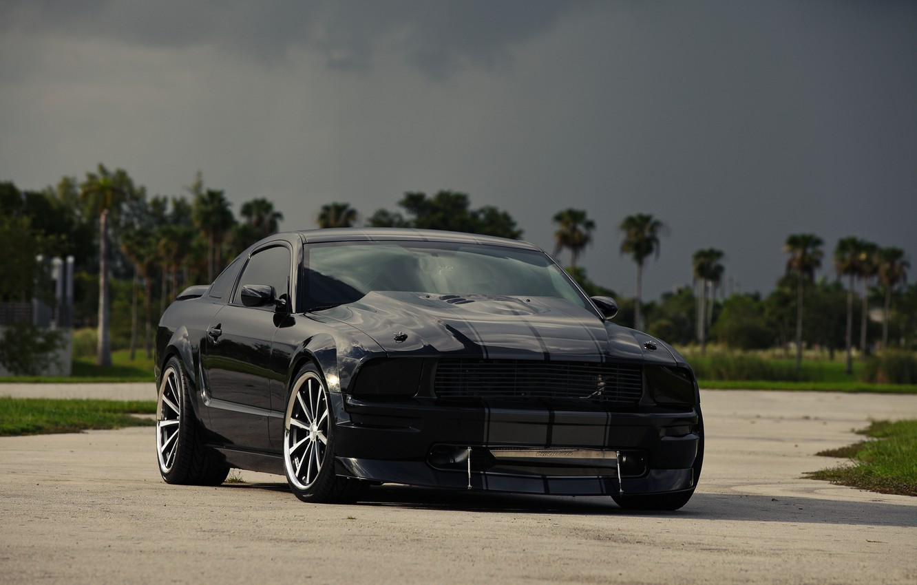 Photo wallpaper the sky, clouds, black, mustang, Mustang, ford, drives, black, Ford, front view, tinted