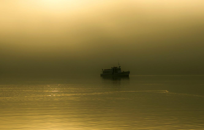 Photo wallpaper fog, lake, morning, boat