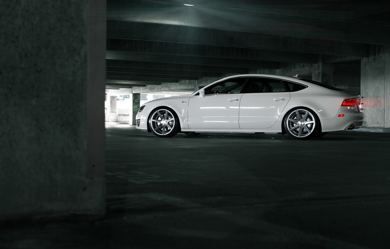 Photo wallpaper Audi, Audi, Machine, Tuning, White, Parking, White, Tuning, Vossen