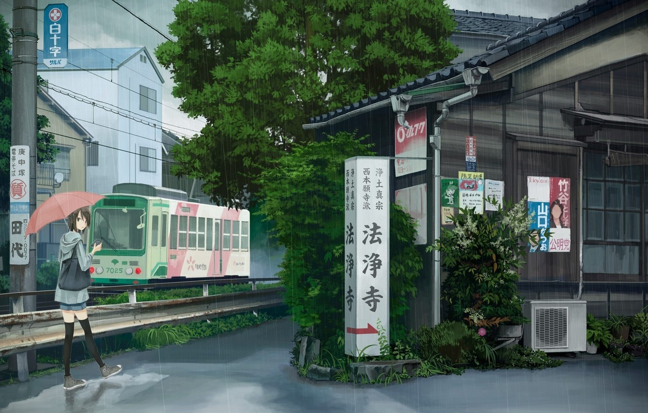Wallpaper Rain Umbrella Anime Japan Art Girl Tram