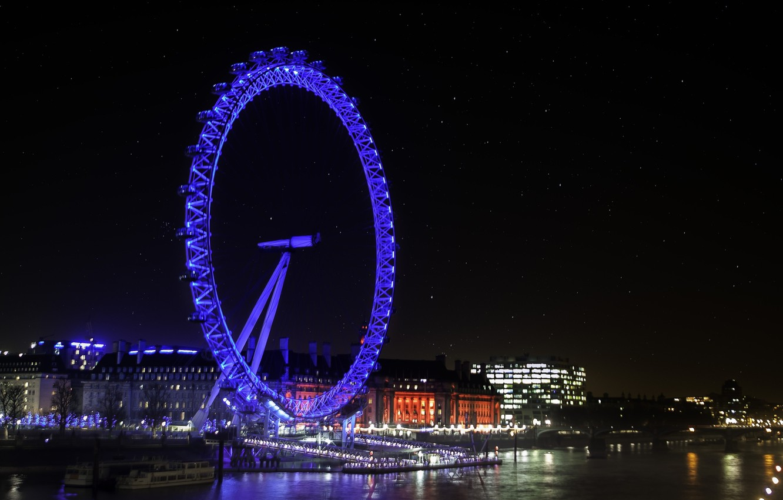 Photo wallpaper night, the city, lights, London, photographer, London Eye, Paulo Ebling