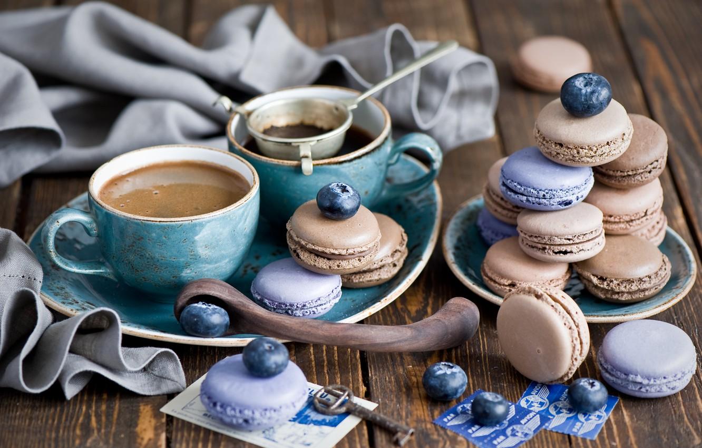 Photo wallpaper berries, coffee, cookies, blueberries, keys, dessert, cakes, sweet, set, spoon, Anna Verdina, macaron