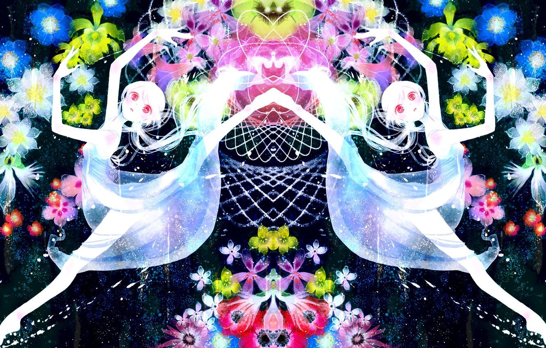 Photo wallpaper girl, flowers, abstraction, anime, art, vocaloid, hatsune miku, albino, at the age yoshitsugi