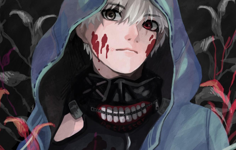 Photo wallpaper blood, mask, hood, guy, anime, art, Tokyo ghoul, Tokyo Ghoul, Ken Kanek