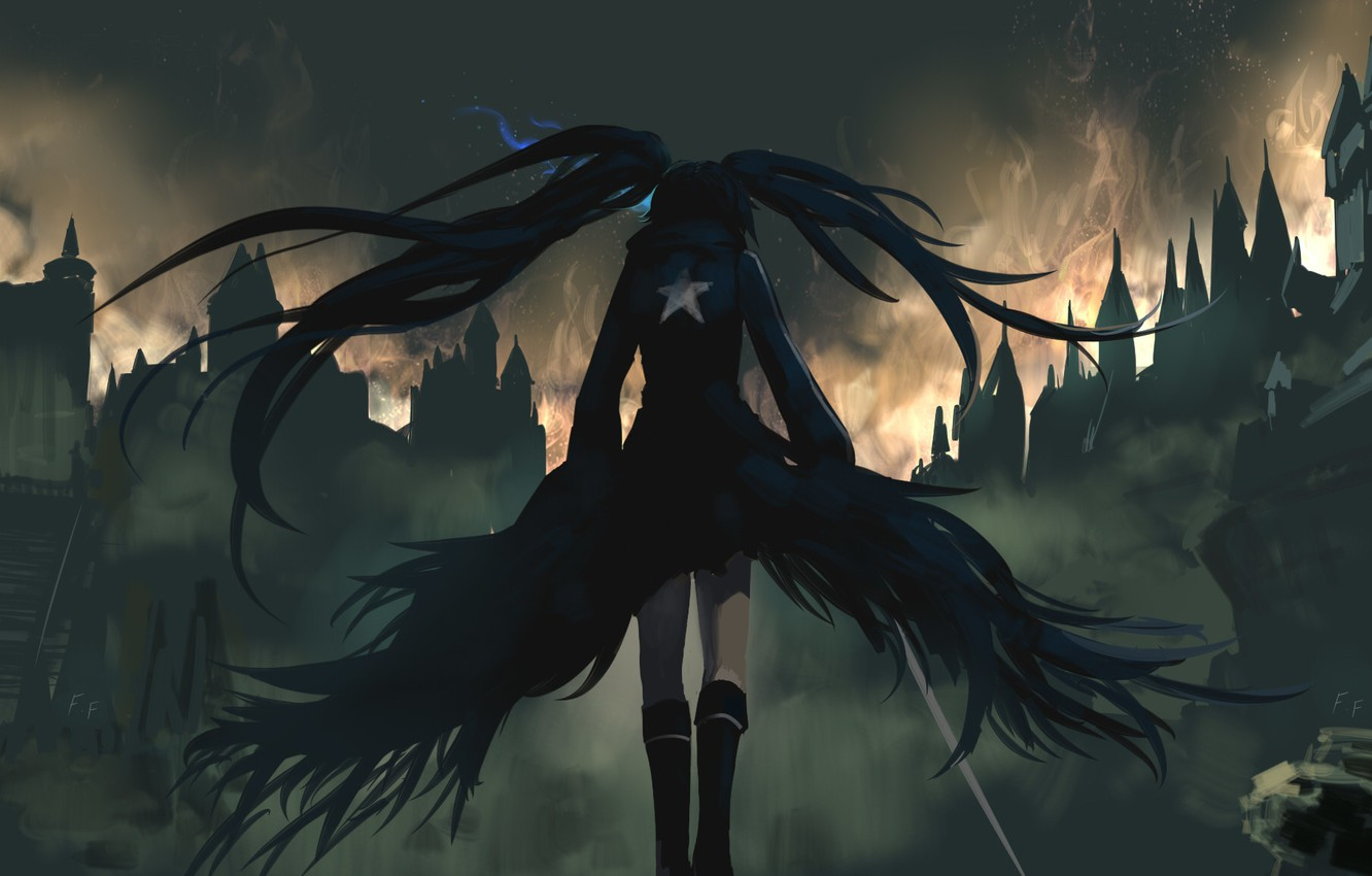 Photo wallpaper girl, the city, fire, back, home, anime, art, ruins, black rock shooter, catch the worm, …