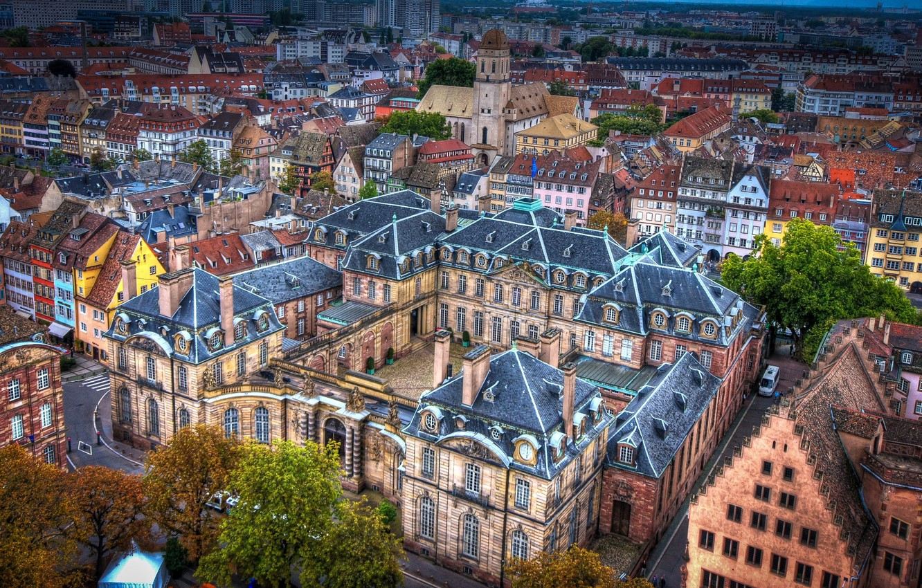 Photo wallpaper France, home, the view from the top, street, Strasbourg