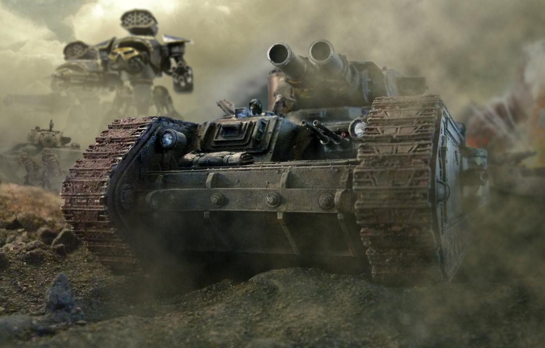 Photo wallpaper trunks, smoke, tank, armor, guns, warhammer 40k, guard, Imperial, Imperial, Titan, Leman Russ, windshield