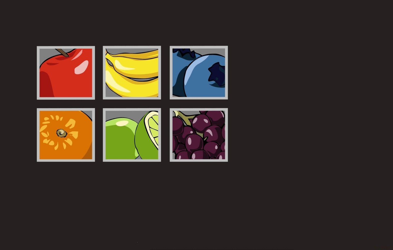Photo wallpaper Apple, orange, squares, grapes, bananas, fruit, grapefruit, blueberries, grey background
