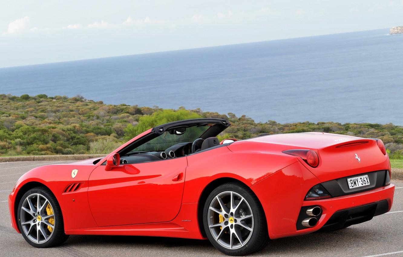 Photo wallpaper red, Ferrari, red, car, California